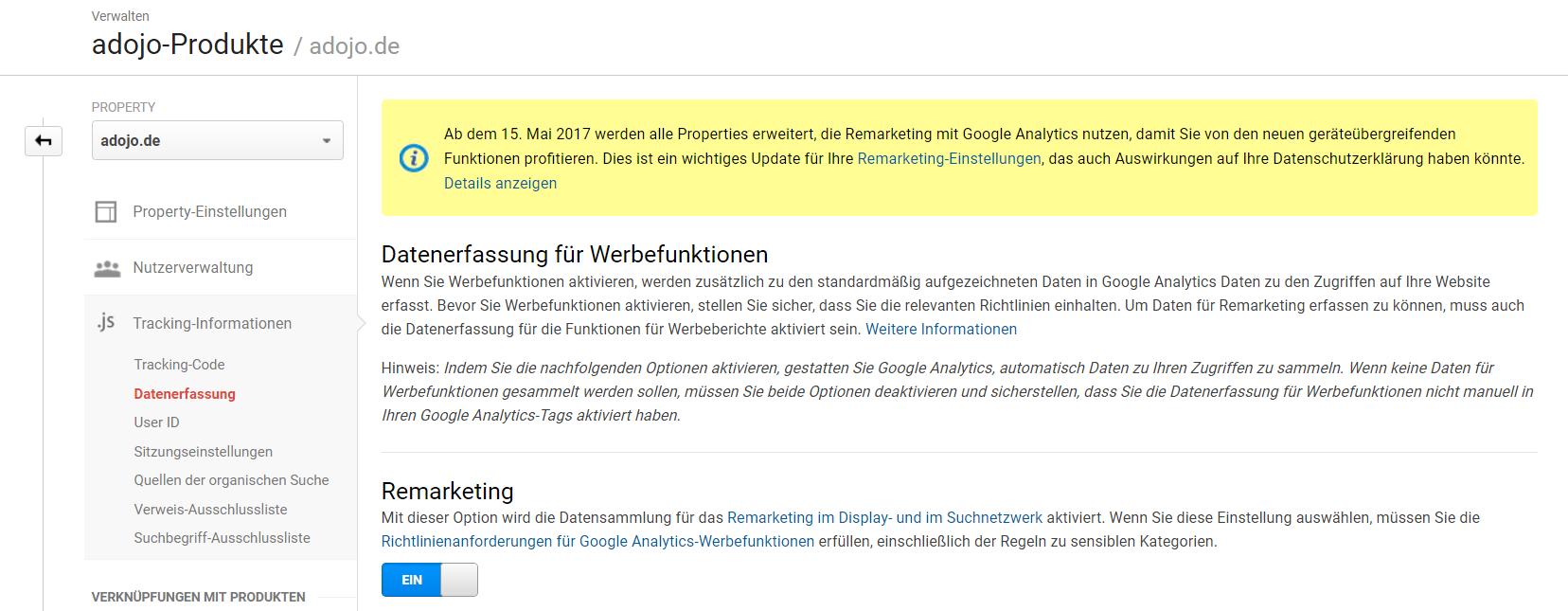 Google Analytics Verwaltung_Hinweis geräteübergreifendes Remarketing