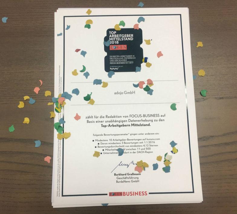 Zertifikat Focus Business TOP Arbeitgeber Mittelstand 2018